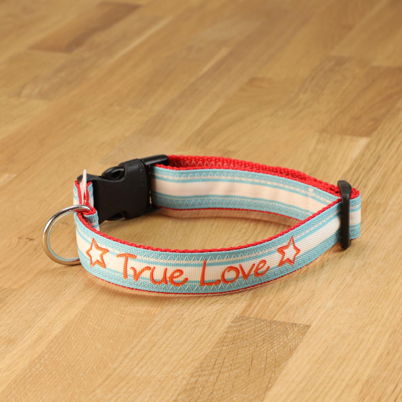 """Hundehalsband """"True Love"""" Segeltuch Türkis-Weiß & Orange"""
