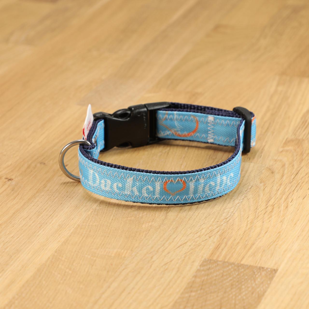 "Hundehalsband ""Dackelliebe"" Segeltuch blau & dunkelblau"