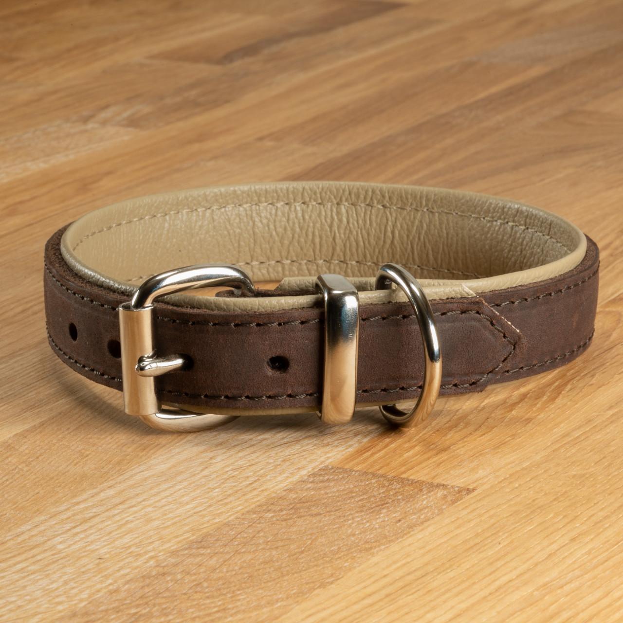 """Hundehalsband """"Lyon"""" Leder dunkelbraun & beige"""