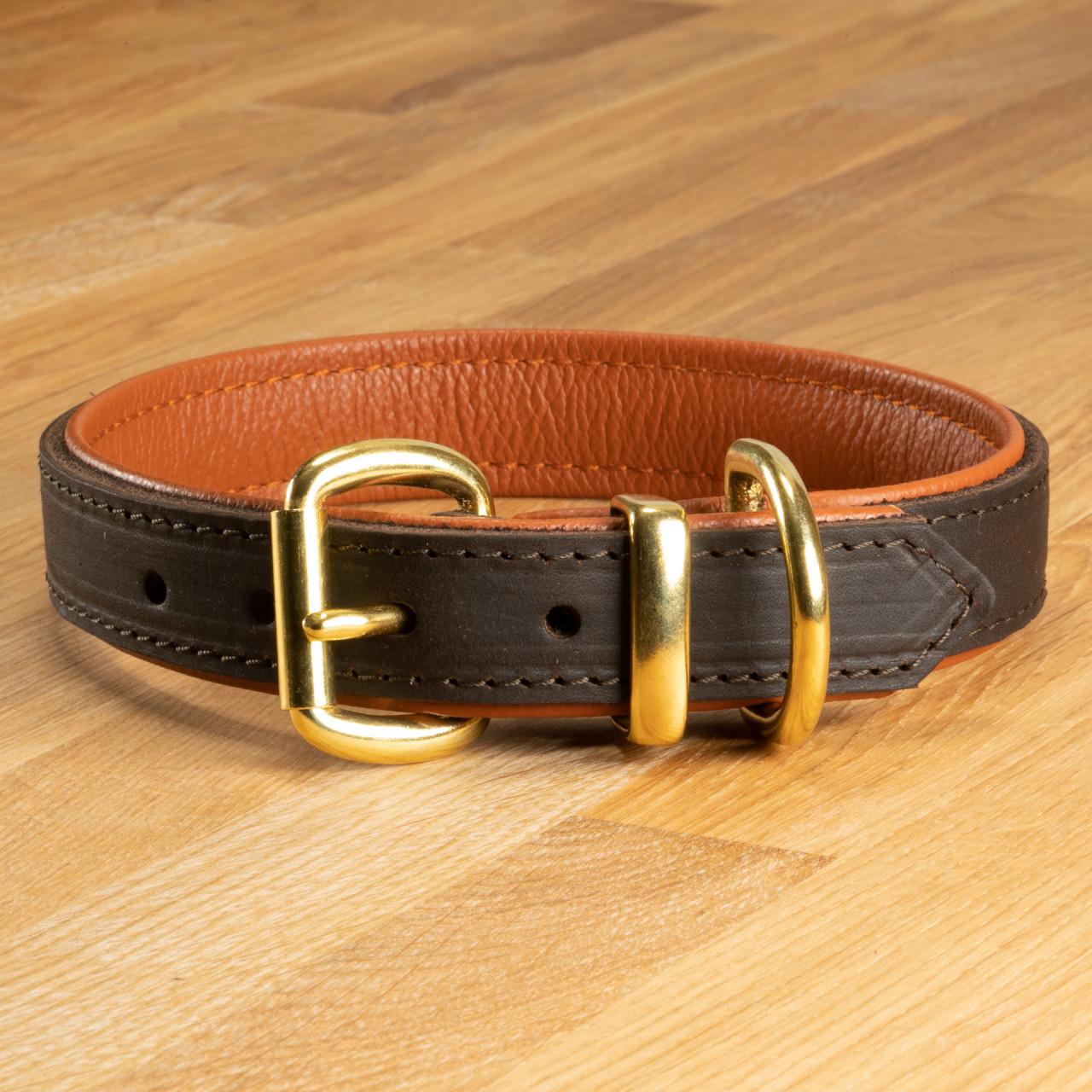 """Hundehalsband """"Lyon"""" Leder dunkelbraun & ziegelrot"""