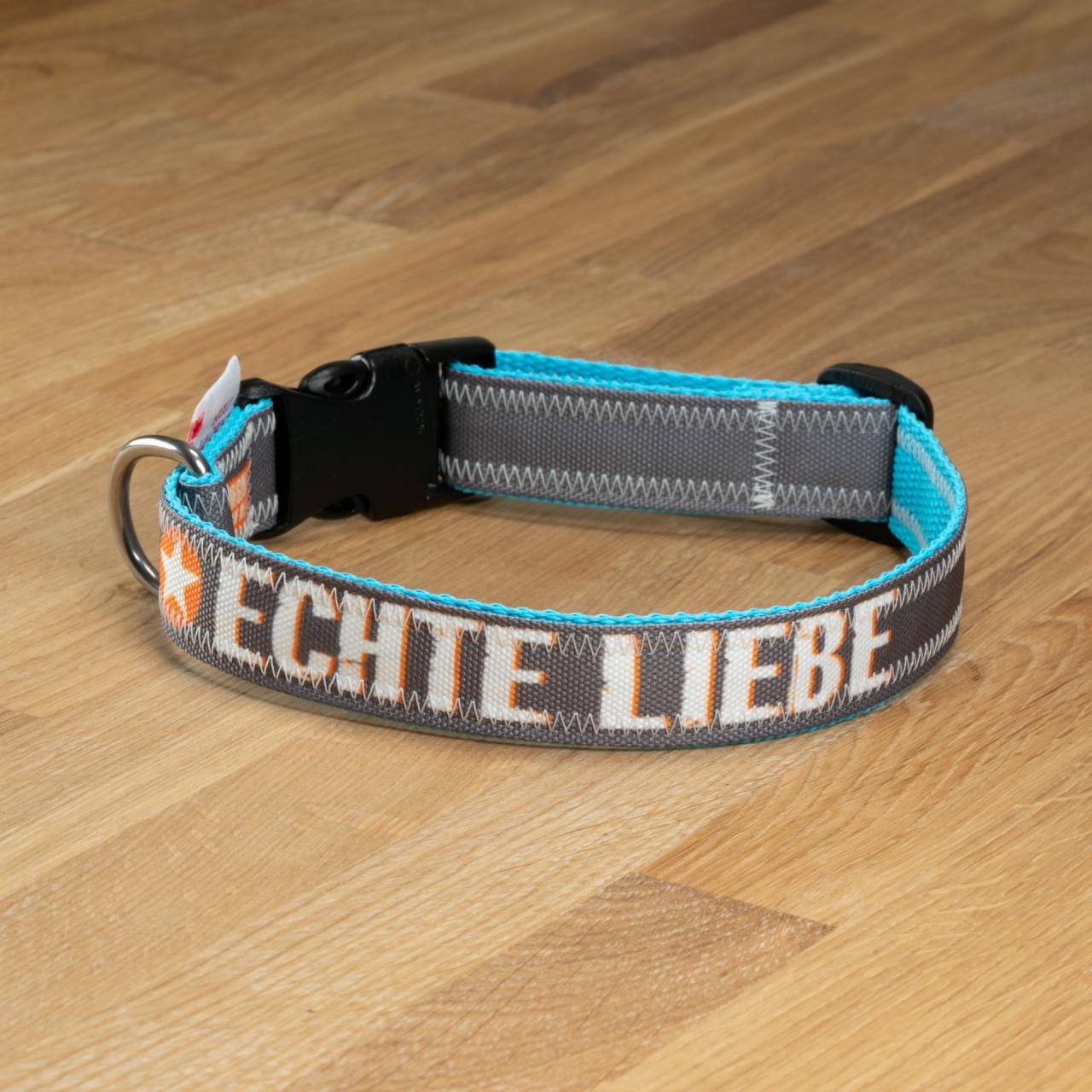"""Hundehalsband """"Echte Liebe"""" Segeltuch grau & türkis"""