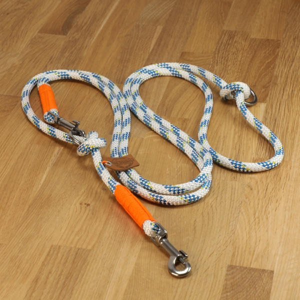 """Hundeleine """"La Mer"""" Tau weiß-blau & orange"""