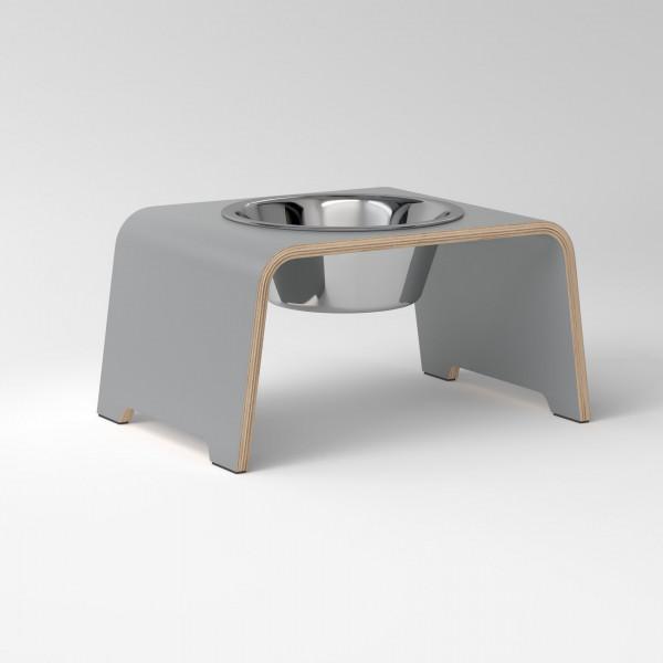 dogBar® Single grau mit Edelstahlnapf