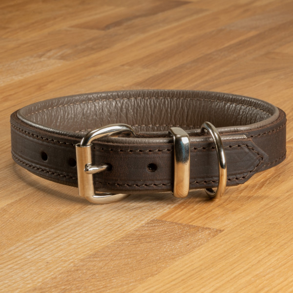 """Hundehalsband """"Lyon"""" Leder dunkelbraun & graubraun"""