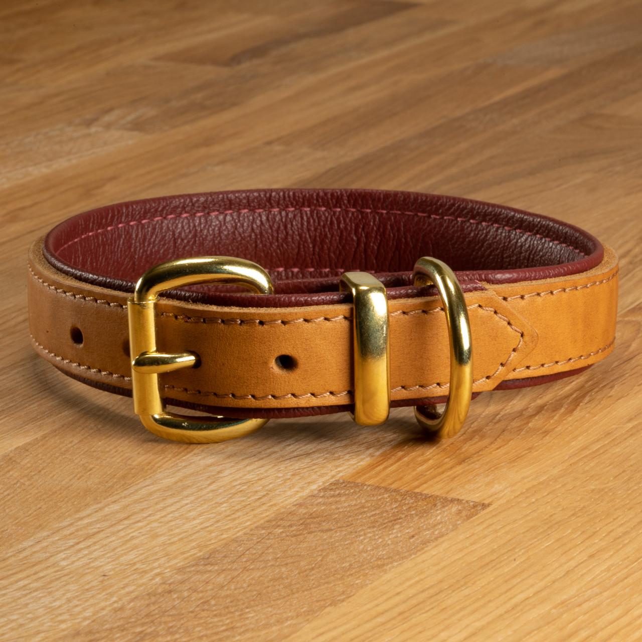 "Hundehalsband ""Lyon"" Leder cognac & weinrot"