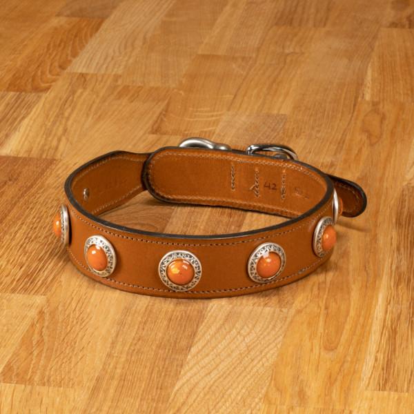 """Hundehalsband """"Delft"""" Leder Cognac"""