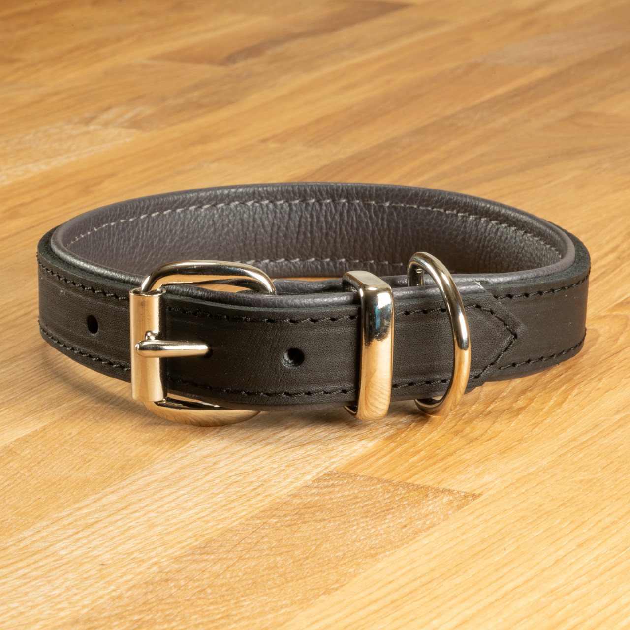"Hundehalsband ""Lyon"" Leder schwarz & dunkelgrau"
