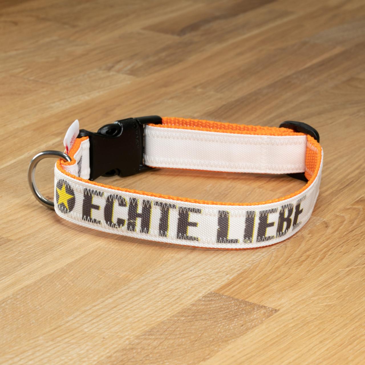 """Hundehalsband """"Echte Liebe"""" Segeltuch weiß & orange"""