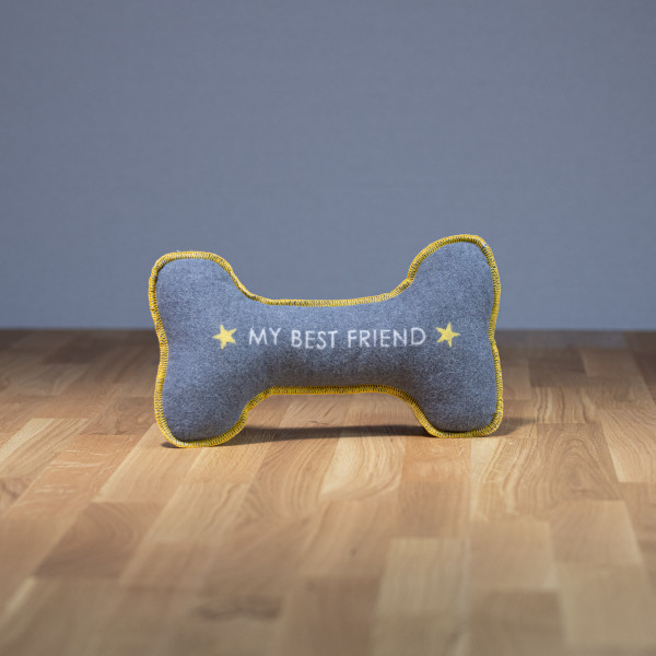 "Hundekissen Knochen ""my best friend"" grau"