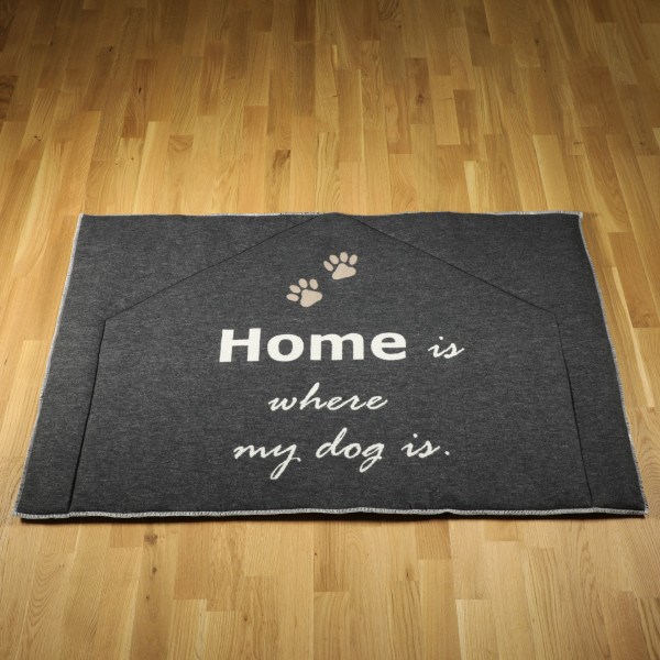 "Hundematte ""home is where my dog is"" gefüttert, anthrazit"