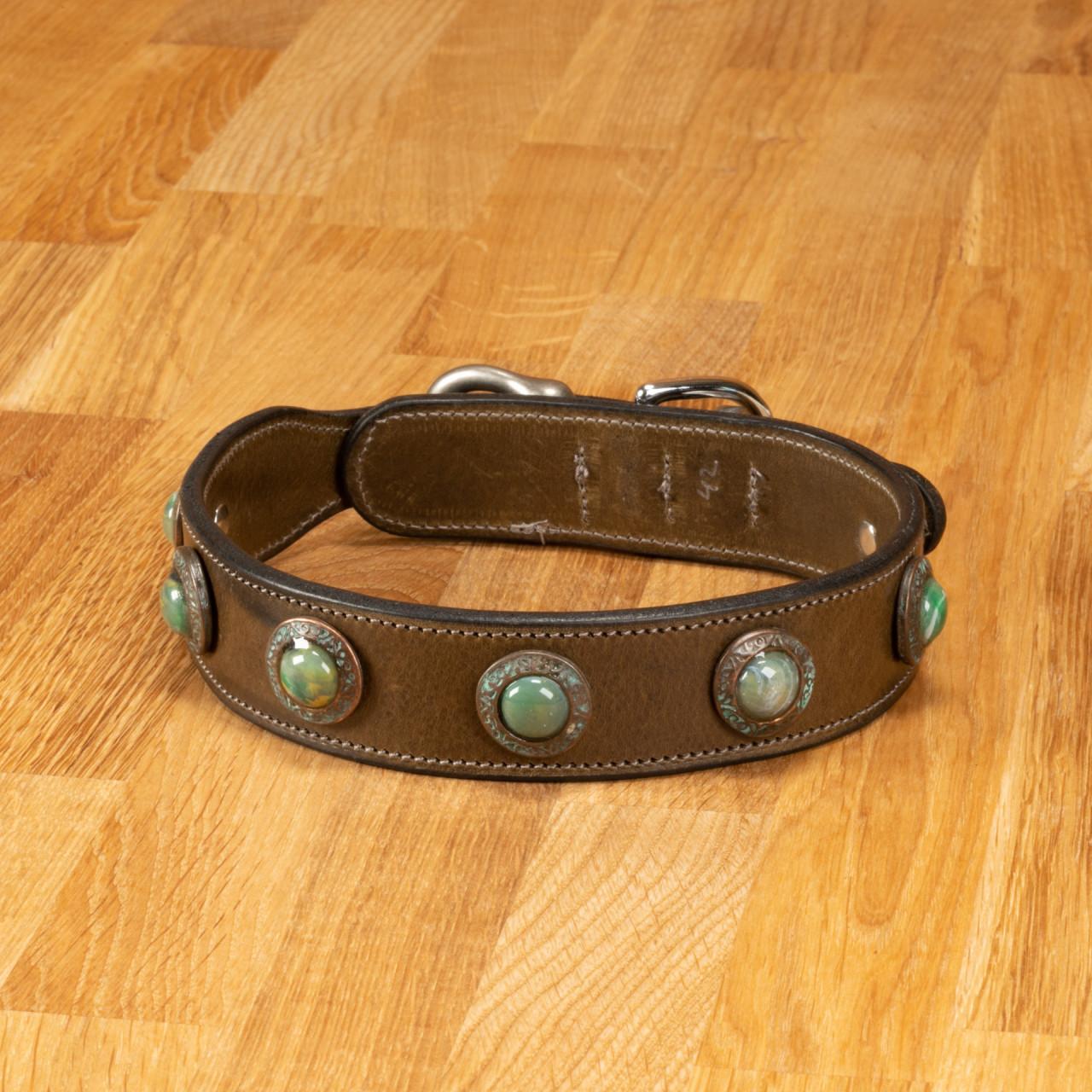 """Hundehalsband """"Delft"""" Leder oliv"""