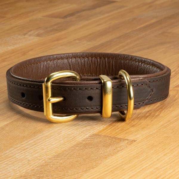 "Hundehalsband ""Lyon"" Leder dunkelbraun & pfefferbraun"