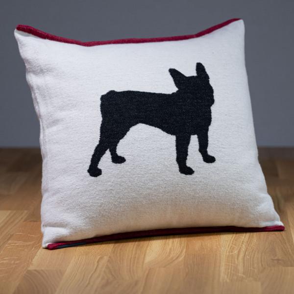 "Hundekissen ""Franz. Bulldogge"" natur-dunkelgrau"