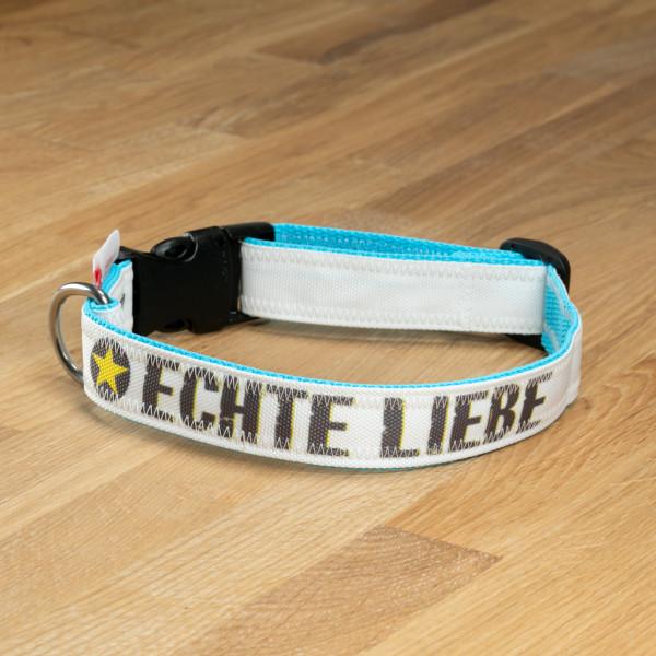"""Hundehalsband """"Echte Liebe"""" Segeltuch Weiß & Türkis"""
