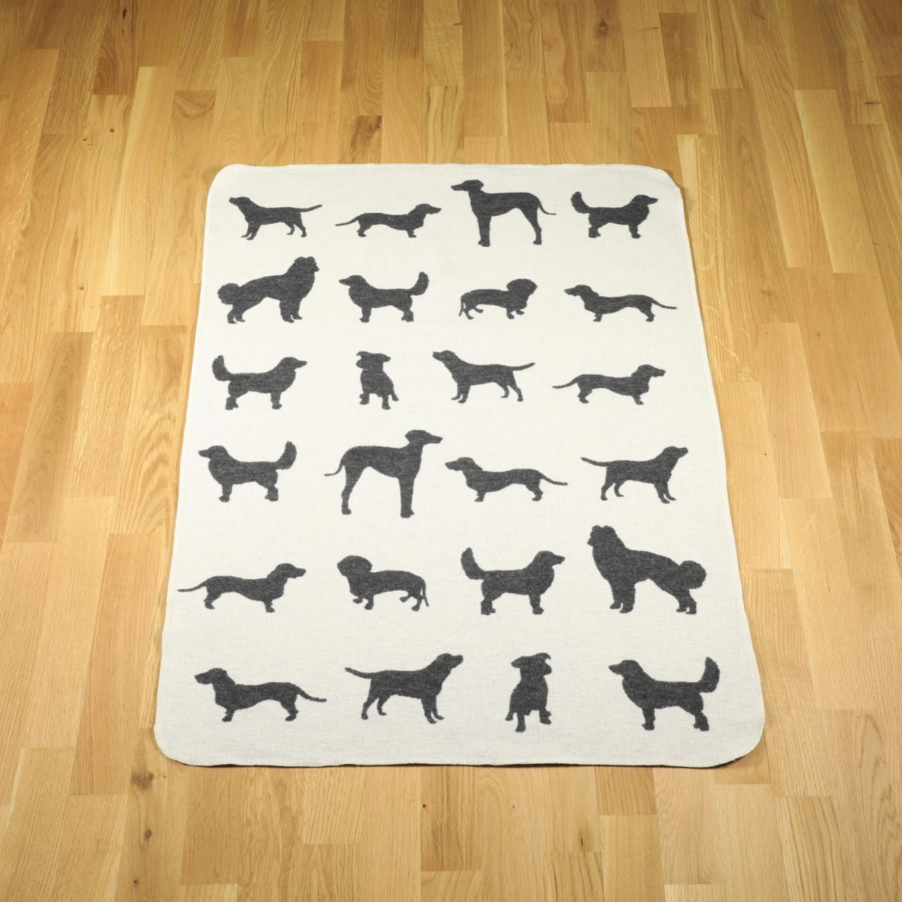 """Hundedecke """"Hunde allover"""" rohweiss"""