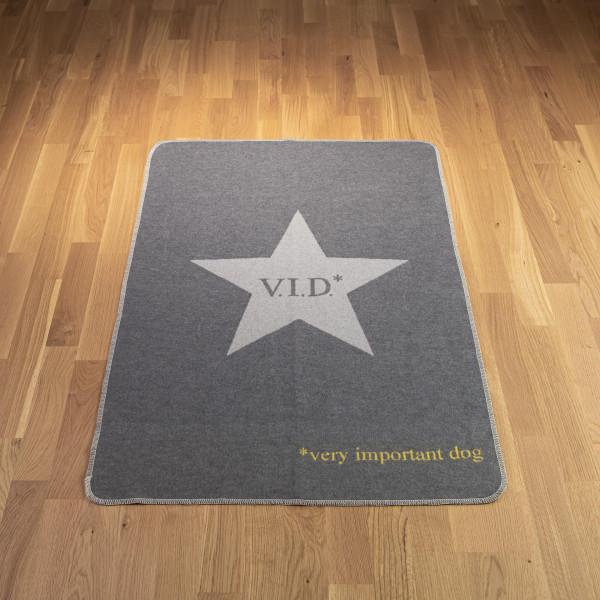"Hundedecke ""V.I.D."" hellgrau-dunkelgrau"